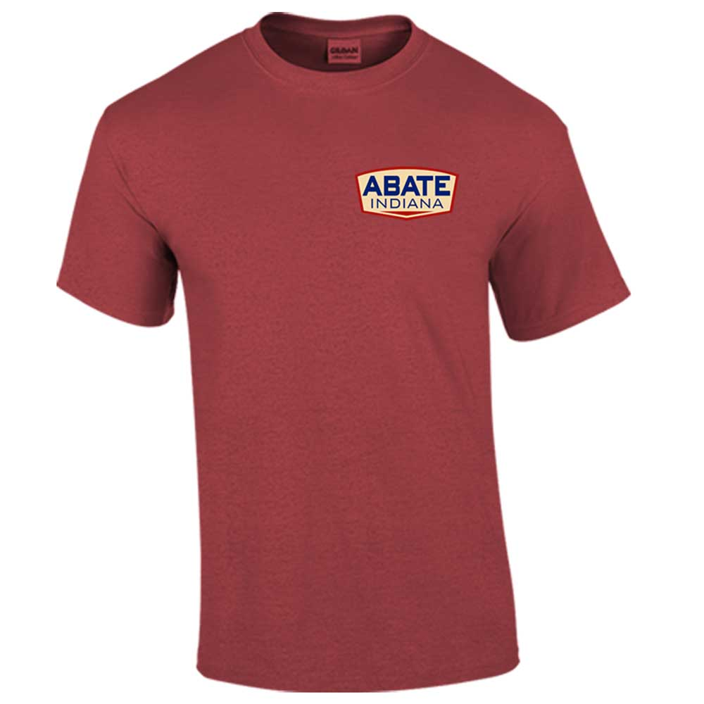ABATE Logo Tee Garnet Adult Size Medium