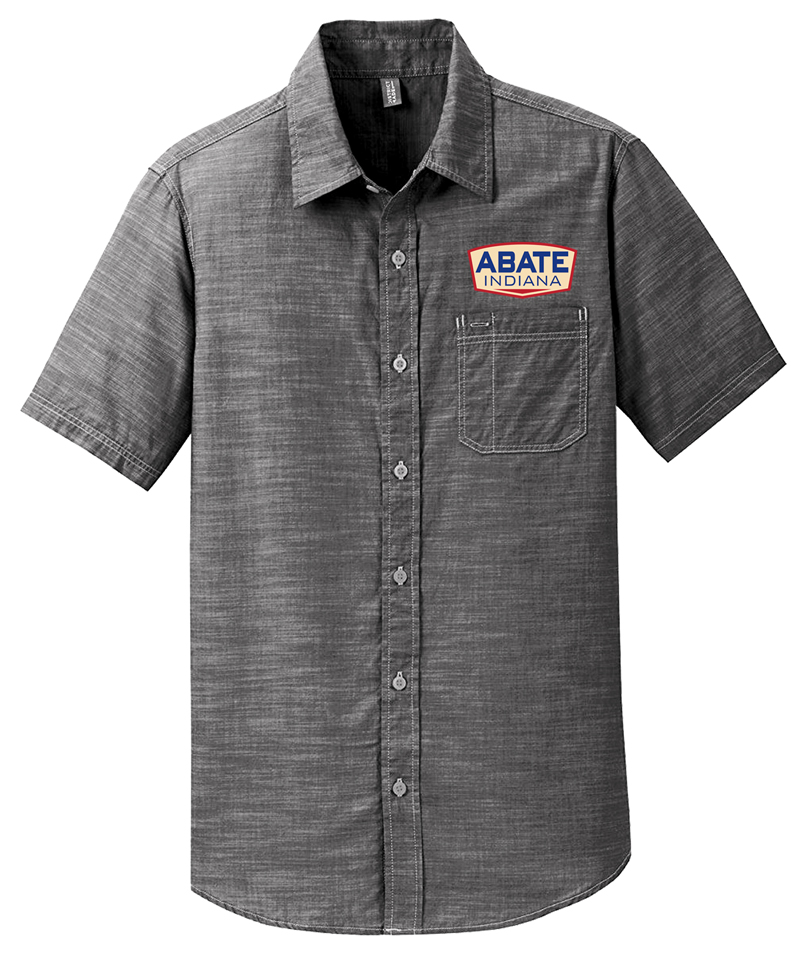 Grey Lightweight Woven Button Up Shirt Adult Small