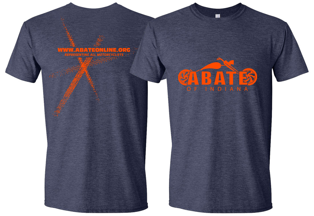 Neon Orange ABATE Motorcycle Tee Adult Size 3X