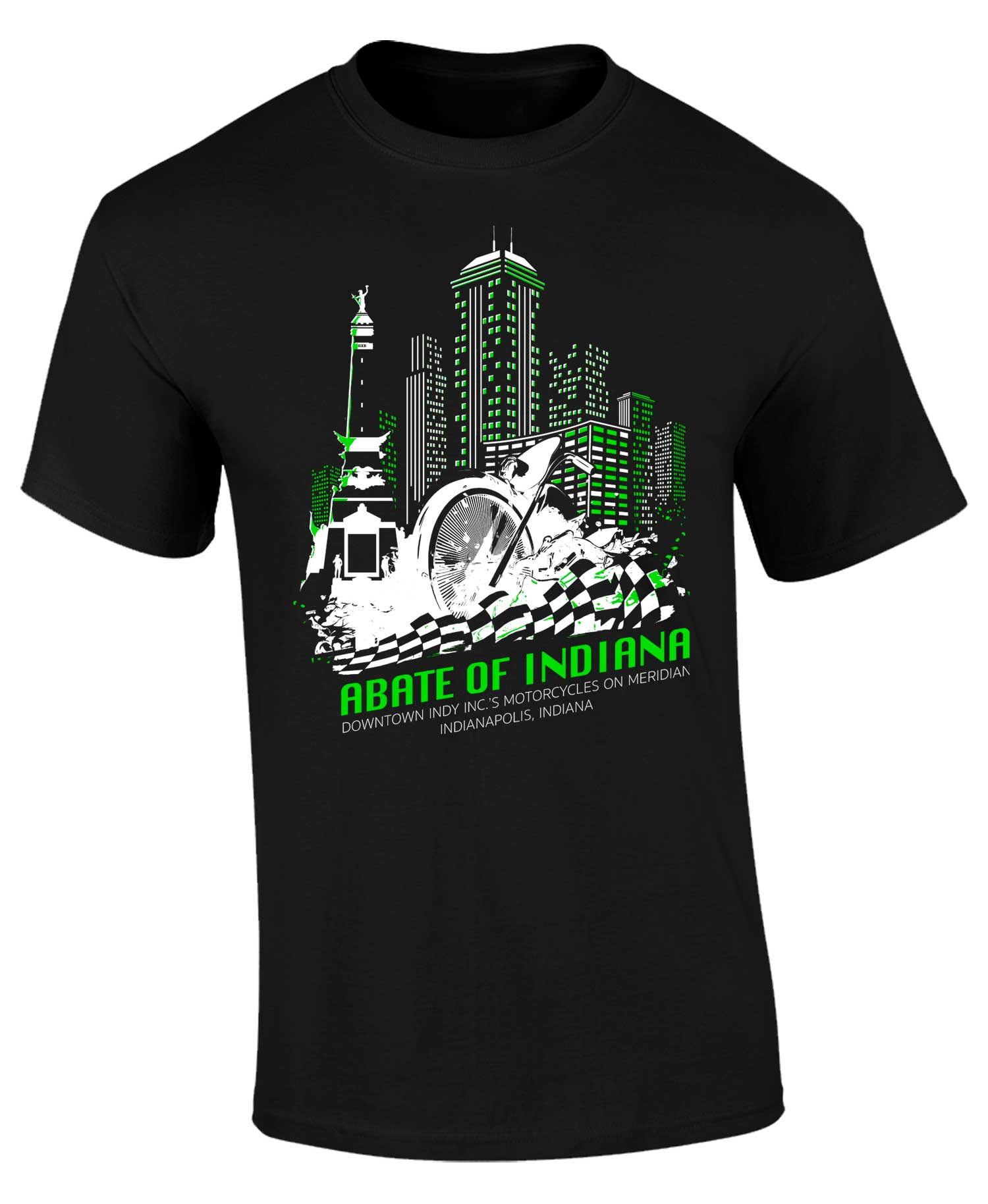 Limited Edition Motorcycles on Meridian Tee Neon Green 2X
