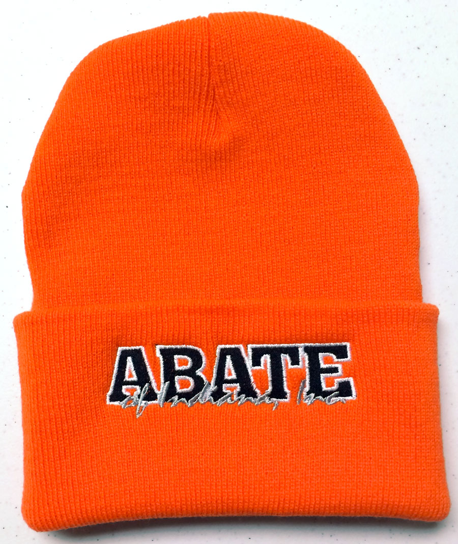 ABATE Script Embroidered Fold Over Knit Hat Blaze Orange OSFM